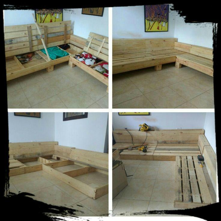 mueble estiba Palets DIY reciclado compartimientos