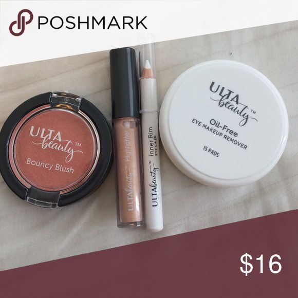 Ulta make up bundle! Includes blush, highlighter, white inner rim eyeliner, and oil-free eye make up remover pads. These are smaller travel size items, never used. ulta Makeup Blush