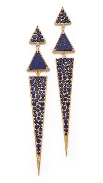 Elizabeth and James Metropolis Pave Long Triangle Earrings 2014