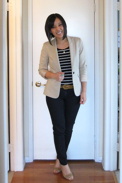 Business casual work outfit: beige blazer, black and white striped tee, black skinnies. I'd wear with nude heels or brown oxfords.