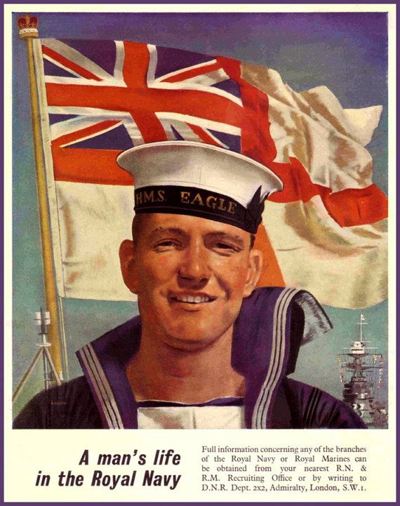 British Royal Navy Recruiting Poster Print 1940 by BloominLuvly