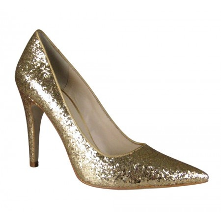 """Tiny"" gold glitter pointed heels   