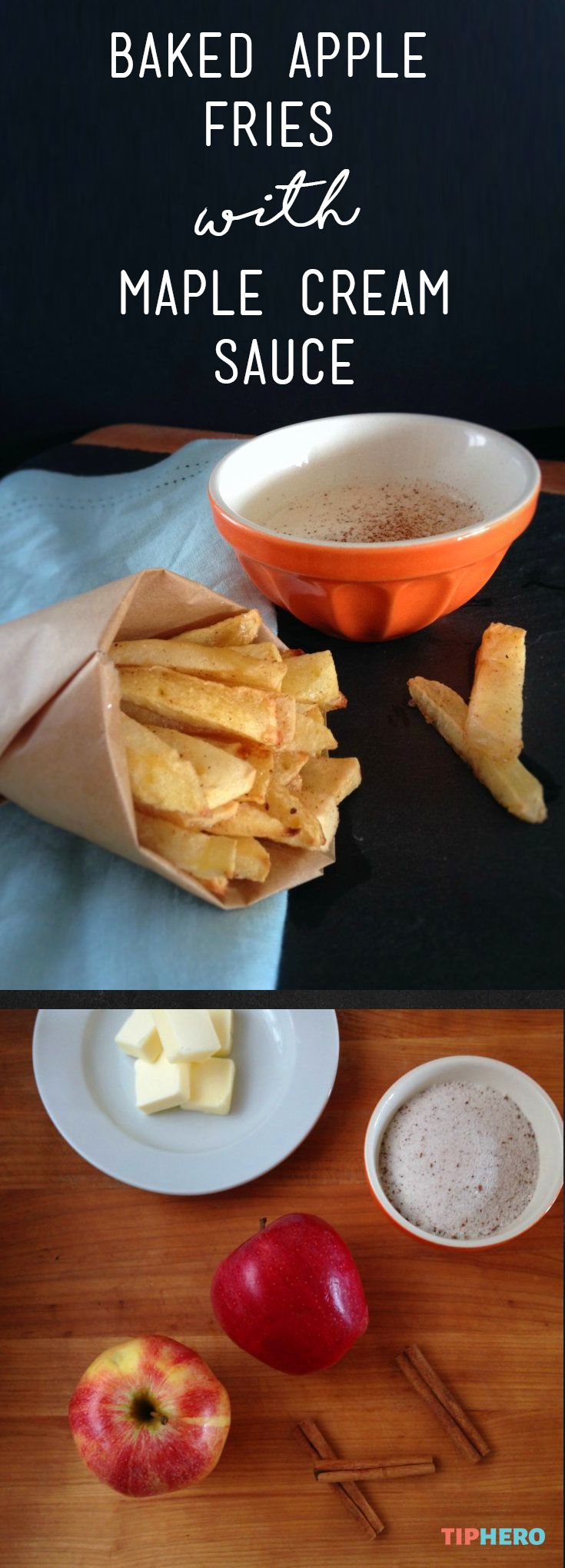 Baked Apple Fries with Maple Cream Sauce | This quick and easy appetizer bakes up in about 15 minutes for a sweet and crispy treat. Add some maple sour cream dipping sauce for some extra sweet! Click for the recipe and how to video.