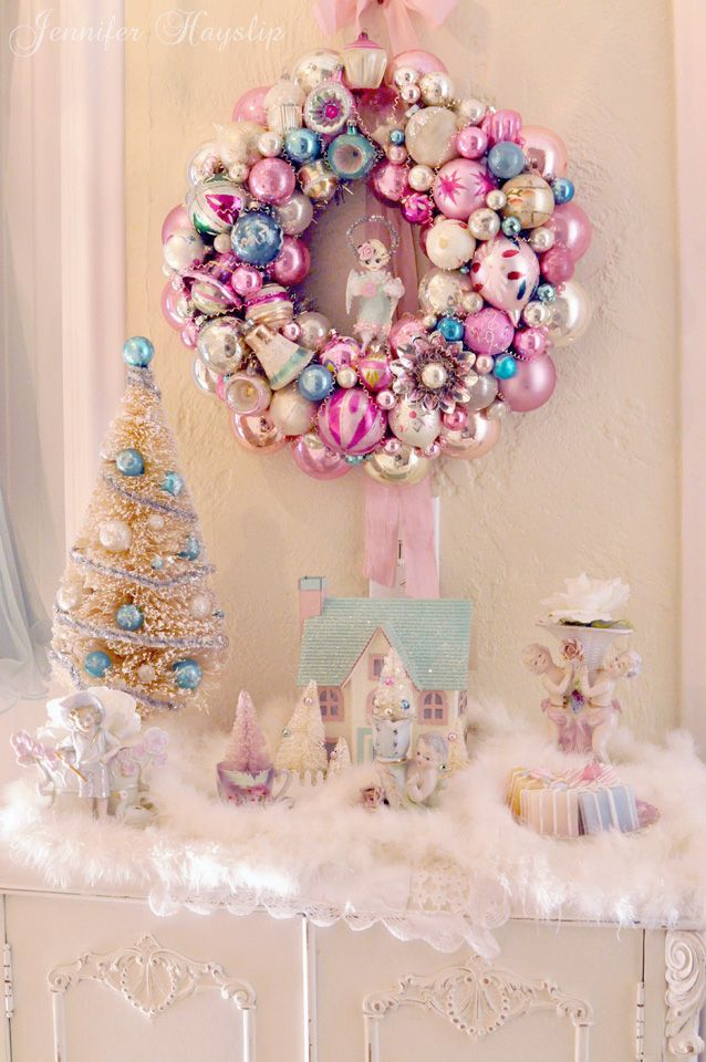 If you like non-traditional colors at Christmas like I do & willing to be different- you may like the idea of shabby colors, teacups & boa's to decorate your home for the holiday.