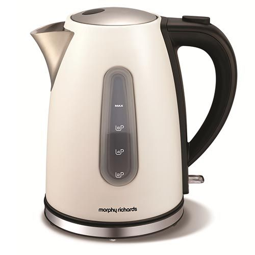 The metallic white Accents Jug kettle is both stylish and  practical. Massive 1.5L capacity and 3kW heating element for quicker, faster drink making at home.