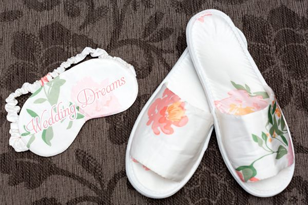 Wedding Slippers and Eye Masks - How elegant are these - great gift for a bride on the run up to her wedding
