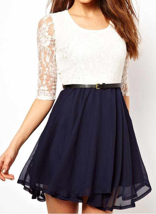Stylish   U-Neck, Lace Splicing Ruffled Dress Dresslily.com