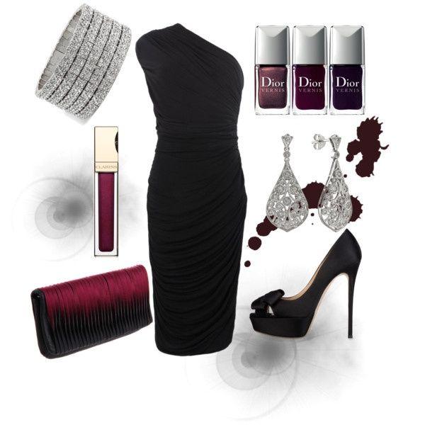 Not so basic black  burgundy, created by luchenskil on Polyvore: Black Burgundy, Date Night, Go Outs Outfits, Outfits Fo, Little Black Dresses, Black Love, Amazing Dresses, Night Outs Outfits, Basic Black