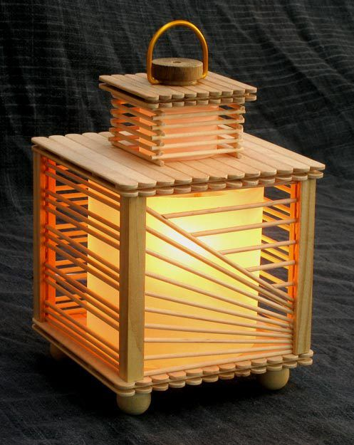 A lovely lamp made from popsicle sticks and wood.