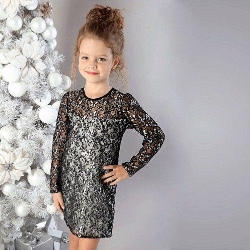 Красивое нарядное платье с пайетками в форме бабочек. Прекрасный выбор для элегантной девочки.