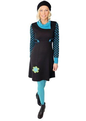 Siri S Design kjole no 13 Polka Flower / skøn varm vinterkjole