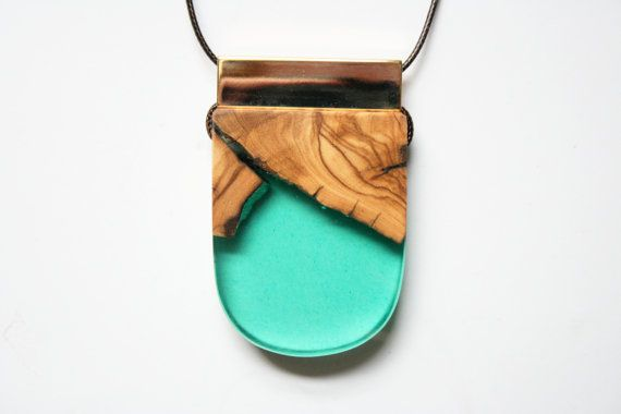 Large modern handmade pendant from emerald green resin by BoldB, $59.00