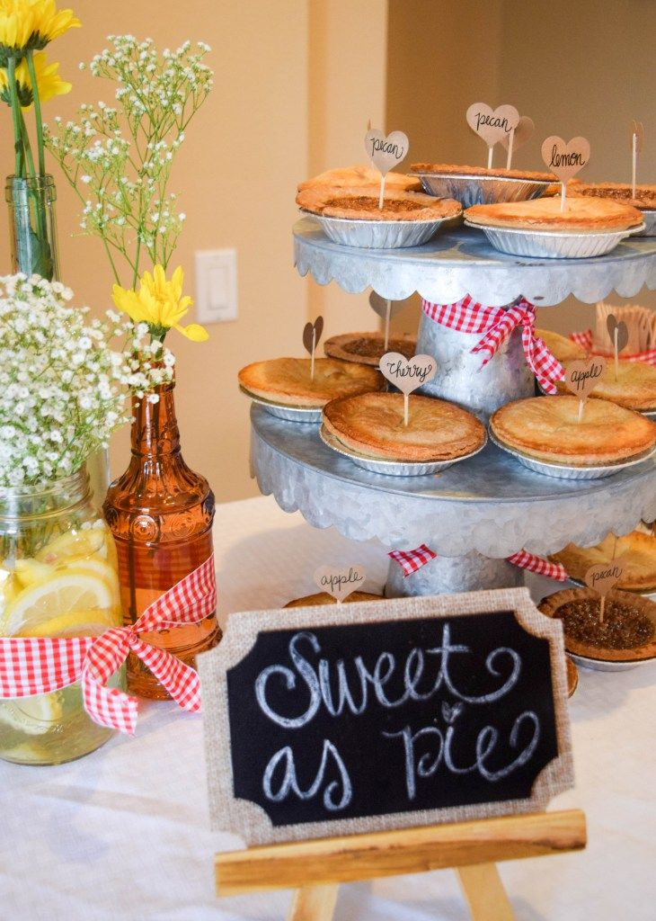 BBQ Baby Shower ; BABYQ; Dessert Table ; Mini Pie ; Gingham Decoration ; Babys Breath and Daisies