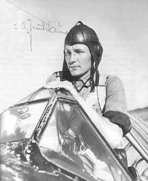 Ilmari Juutilainen, Finland's top flying ace, in the cockpit of Brewster BW-364 at Hirvas base, 1942