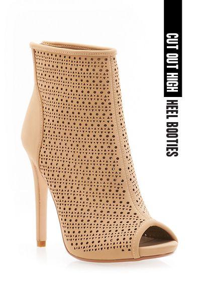 Cut out high heel booties. #booties #cutout #heels #peeptoe #highheels