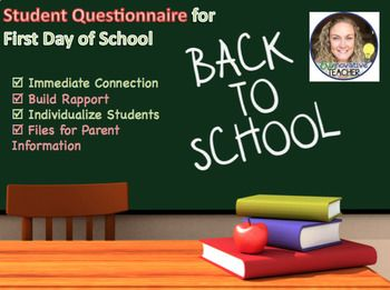 Back to School First Day of School Student Questionnaire
