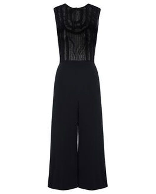 18 Jumpsuits Perfect For Wearing Anywhere & Everywhere  #refinery29  http://www.refinery29.com/jumpsuits-for-women#slide-13  Darks & NeutralsA sheer top adds a sexy touch to this formal jumpsuit look.RED Valentino Lace Ribbon Detailed Jumpsuit, $950, available at RED Valentino....