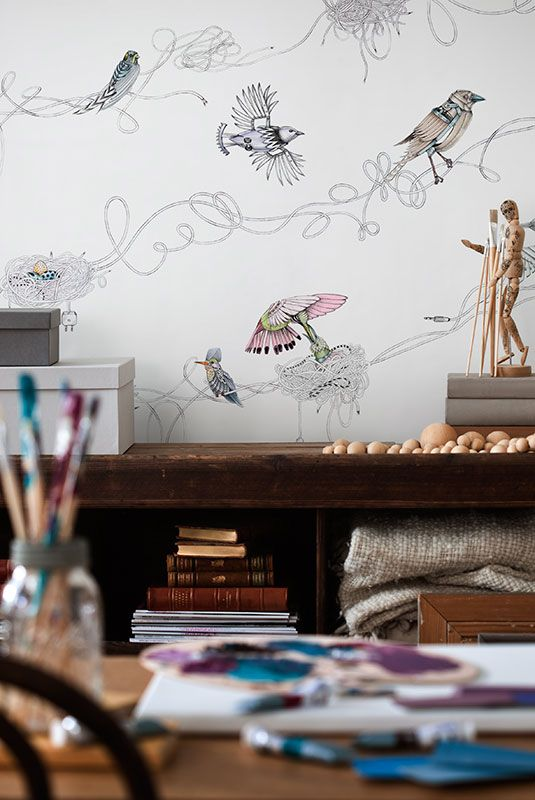 Here we have focused on the dynamic interaction between technology and nature, and then taken it one step further. The result is a traditional design with a supernatural touch.#birds #wallpaper #wallmurals