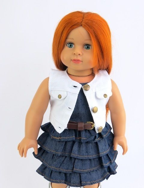 "Denim Western Ruffle Dress with Vest Fits 18"" American Girl Doll Clothes #AFW"