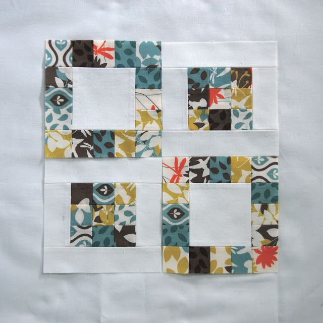 Pin. Sew. Press.: scrappy quilt blocks I like the negative/positive. Idea for striped green material I have and solid matching colors.