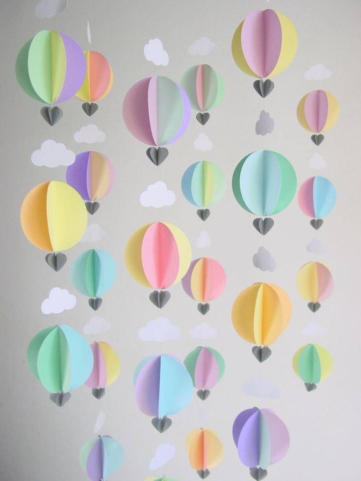 Party Pack of 6 Hot Air Balloon Garlands - Baby Mobile - Baby Shower Decorations - Up, up and away - Nursery Decor - Baby Gift - Scandi Baby by youngheartslove on Etsy https://www.etsy.com/listing/247309920/party-pack-of-6-hot-air-balloon-garlands
