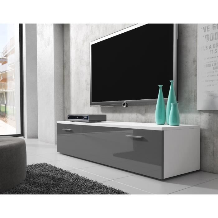 Boston Meuble Tv Contemporain Decor Blanc Et Gris 150 Cm Avec Images Decoration Blanc Meuble Tv Meuble Tv Gris