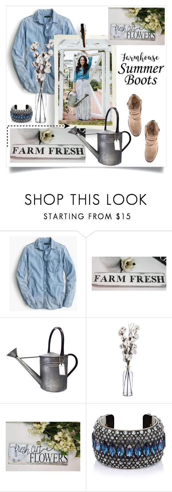 """Joanna Gaines styled!  Love this Farm Fresh sign https://www.etsy.com/listing/472418528/farm-house-signkitchen-signsfixer?ref=shop_home_feat_1  """"summer booties"""" by theworldisatourfeet on Polyvore featuring J.Crew, Williams-Sonoma, Lanvin and summerbooties"""