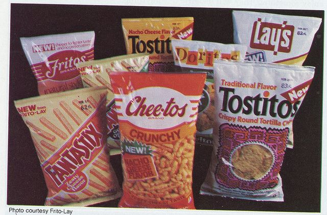 Old-school Frito Lay chips (forgot this is what the bags looked like until I saw them again.)
