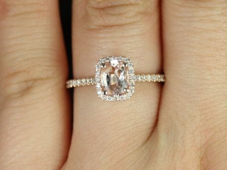 Romani 14kt Rose Gold Morganite and Diamonds Cushion Halo Engagement Ring (Other Center Stone Available Upon Request) on Etsy, $695.00