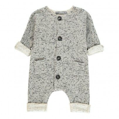 Pablo Jacquard Button-up Playsuit Light grey  1+ IN THE FAMILY