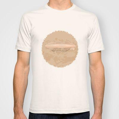 Airship in graphic style. Beige colors.  T-shirt by Kira Sokolovskaya - $22.00