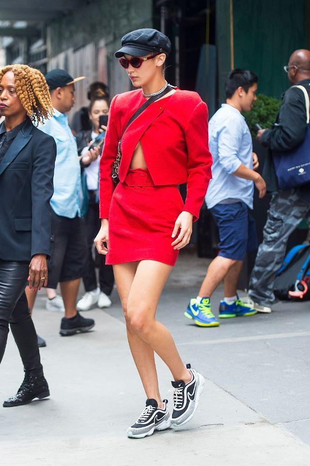 On Bella Hadid: Sami Miro vintage red skirt suit; Nike Air Zoom Spiridon Ultra ($110)