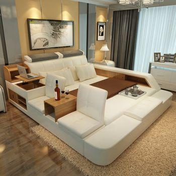 Muebles de dormitorio de lujo establece king size cama doble con armarios laterales de cuero moderno sillas de heces cama cola sin colchón