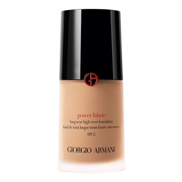 Power Fabric Full Coverage Foundation   Giorgio Armani Beauty (83 AUD) ❤ liked on Polyvore featuring beauty products, makeup, face makeup, foundation, liquid foundation, spf foundation and armani beauty