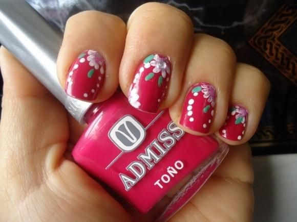 uñas con flores: Of An, Con Flora, Acrilica Sbre, Nail With, Search, Nails Nailart, Uña Decorada Flore, Flore Acrilica, Rosa-Shocked Flora