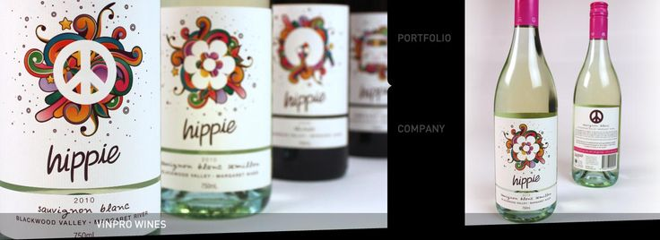 Diseño de Packaging: Diseño de la Etiqueta del vino porción Percept en Sydney Para La Etiqueta moderna vino Hippie en Australia.