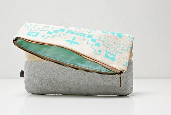 Navajo Printed Leather-Suede Pouch native aztec aqua: Leathersu Pouch, Native Aztec, Leather Su Pouch, Goddamn Bags, Navajo Prints, Aztec Aqua, Bags Lady, Bags Backpacks Luggage, Prints Leathersu