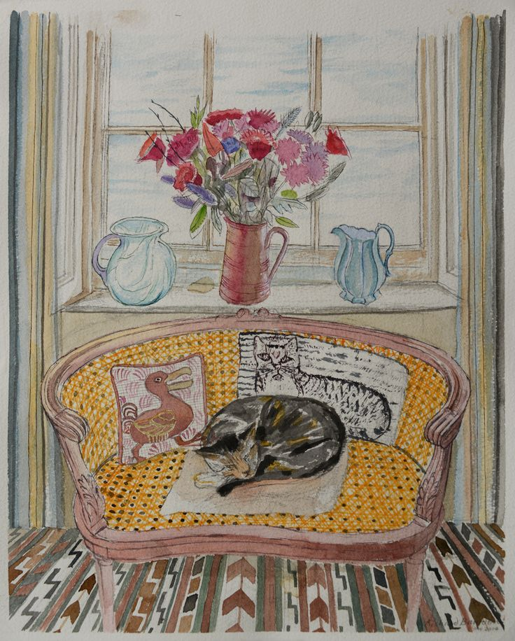 Richard Bawden RWS RE, Cat on Sofa, watercolour. Contact info@banksidegallery.com for further details. See www.banksidegallery.com for other prints and paintings.