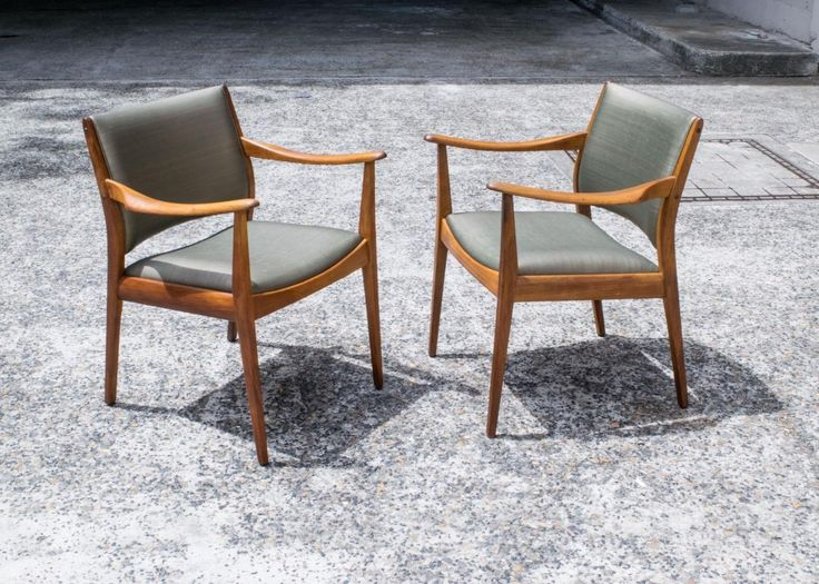 Matched pair of teak TH Brown armchairs c1960. Laurel-green with pink thread art silk vinyl. Strong Scandinavian design influence. TH Brown & Sons were amongst a handful of Australian furniture makers licensed to make Scandi-Danish designed chairs for the local market