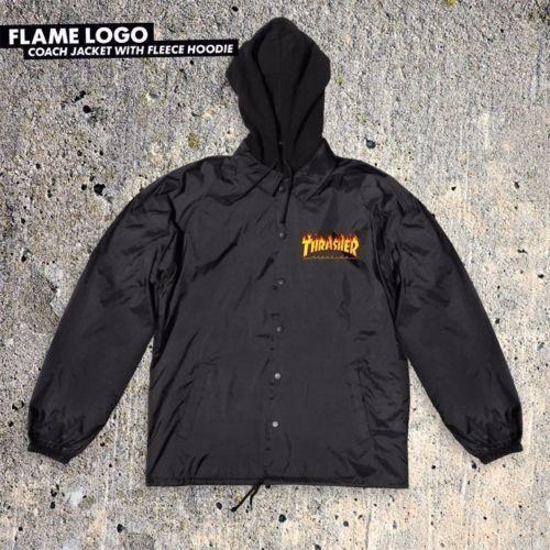 Thrasher Skateboard Magazine Flame Logo Black Windbreaker Hooded Jacket $68 #Thrasher #CoachesJacket