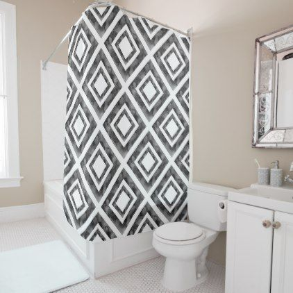 Charcoal White Watercolor Diamond Geometric Shower Curtain
