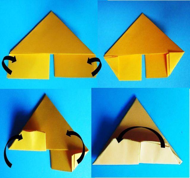Cómo doblar triángulos (piezas básicas) para origami de 3D: Sigue doblando el triángulo básico.