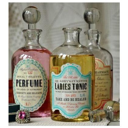 DIY:: Vintage Apothecary bottles Tutorial - Using Free Printable labels