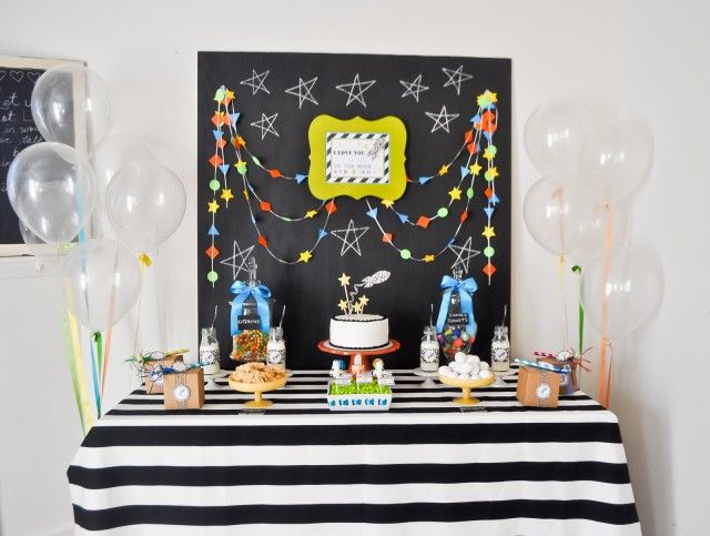 """""""Love you to the moon and back"""" space/rockets birthday party"""