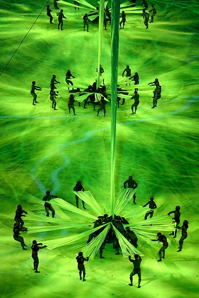 #RIO2016 Dancers perform during the Opening Ceremony of the Rio 2016 Olympic Games at Maracana Stadium on August 5 2016 in Rio de Janeiro Brazil