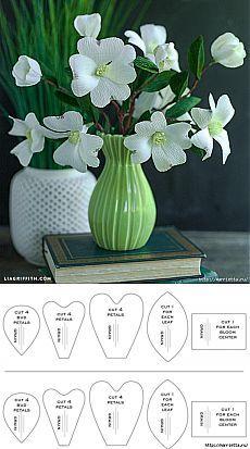 Цветочки кизила из гофрированной бумаги. Шаблоны | Конфетный рай