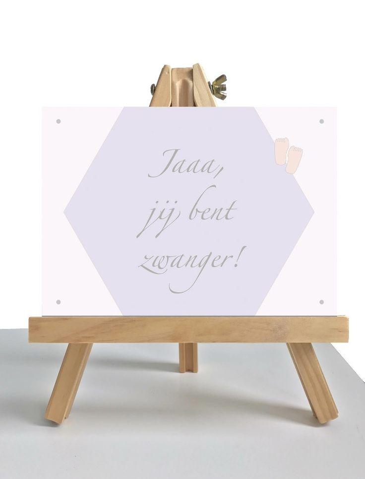 Leuk kaartje om te geven aan die vrouw die zwanger is. Mooi in pastel kleur. Kaart van Pastijl Grafische Ontwerpen.