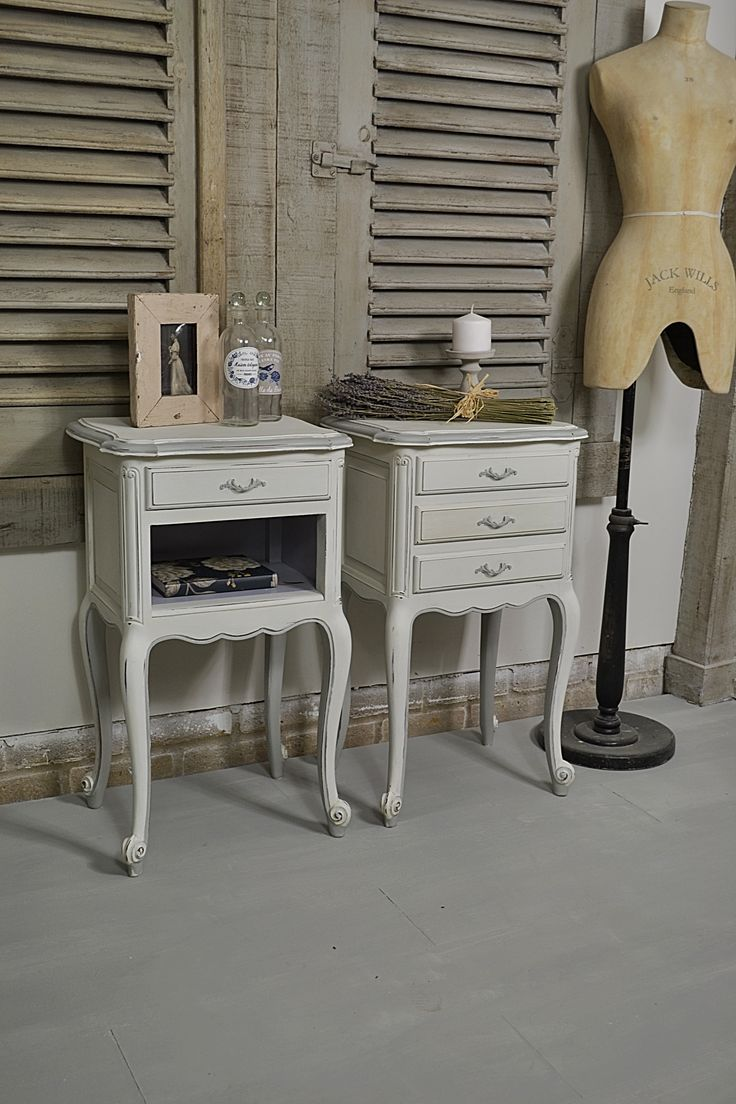 This pair of French shabby chic bedside tables would make the perfect bedside companion! Painted in Annie Sloan Old White with F&B Manor House Grey edging.  http://www.thetreasuretrove.co.uk/bedroom-storage/pair-of-french-white-shabby-chic-bedside-tables