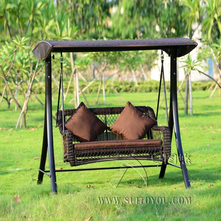 2 человека плетеная патио сад-качалками haning гамак ротанга открытый Чехол сиденье с подушкой