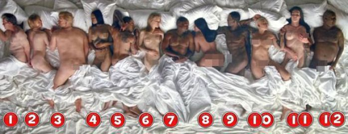 """The 12 naked famous people in Kanye West's """"Famous"""" music video."""